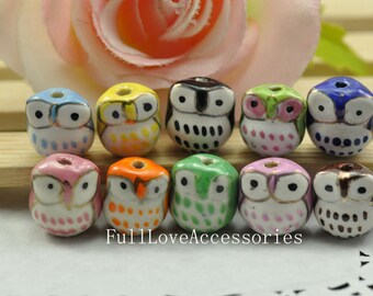 10pcs 16mm Colorful Handpainted Cute Ceramic Owl Beads Owl Charms Pendant