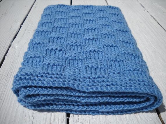 Baby Blanket Hand Knit Basketweave Children Afghan Blue