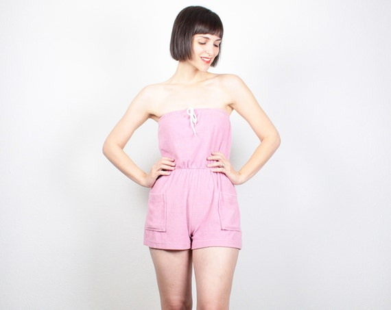 Vintage Pink Romper Strapless Playsuit Terry Cloth Tube Top