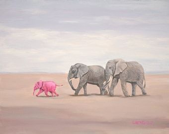 "Going to the Beach 5"" x 7"" Print - 8"" x 10"" with matting. Pink Elephants"