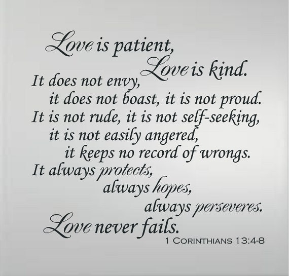 Love Is Patient Love Is Kind Quote: 1 CORINTHIAN 13:4-8 Love Is Patient Love Is Kind Love Never