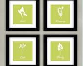 Herbs Kitchen Art Print Set - Parsley, Basil, Dill, Rosemary