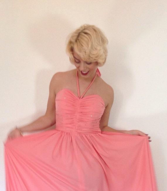 maxi dress 1970s disco style coral strapless diamanté prom gown UK 10 party gown festival disco