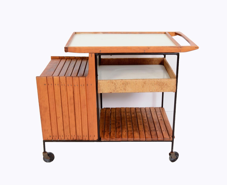 bar cart arthur umanoff raymor mid century modern 1950. Black Bedroom Furniture Sets. Home Design Ideas