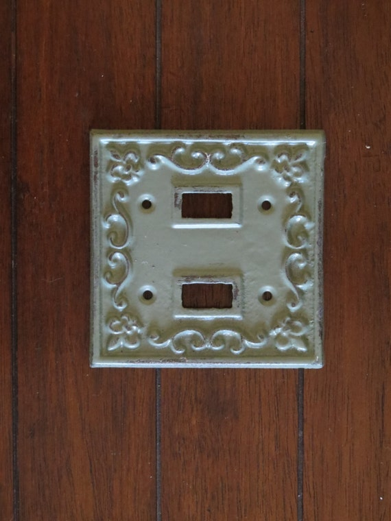 Light Switch Plate Cover Cast Iron Double Switchplate Sage