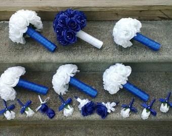 Royal Blue Rose Bouquet, Royal Blue Bouquet, White Rose Bouquet, Royal Blue White Bouquet, Royal Blue White Wedding, Horizon Blue Bouquet