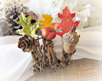 Autumn Napkin Rings, Leaf- Pine Cone- Acorn- Pumpkin Napkin Rings, Rustic Fall Thanksgiving Napkin Rings, Fall Autumn Table Decor Decoration