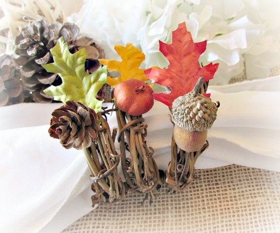 Rustic Autumn Fall Oak Leaf Napkin Rings, Pine Cone Acorn Pumpkin Napkin Rings, Thanksgiving Napkin Ring, Fall Autumn Table Decor Decoration