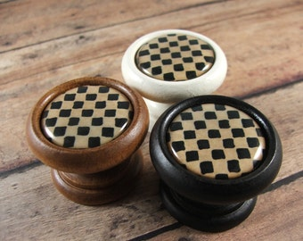 Folk Art Check Knobs, Pulls, Handles in Wood...Price is for 1 Knob (Discount Quantities Available)