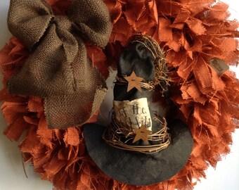 "24"" Fall Wreath, Thanksgiving Wreath, Witch Hat Wreath, Halloween Wreath, Witch Wreath, Orange Wreath, Black Wreath,Autumn  Wreath"