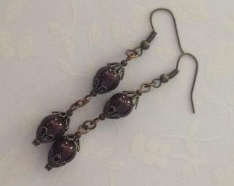 Maroon Bead Earrings
