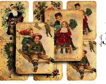 Christmas digital collage sheet - Vintage Christmas Winter - tags - digital download - printable - instant download - vintage children