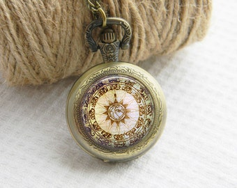 Pocket Watch Necklace Art Photo Pendant Watch Brown Compass Locket Necklace (024)