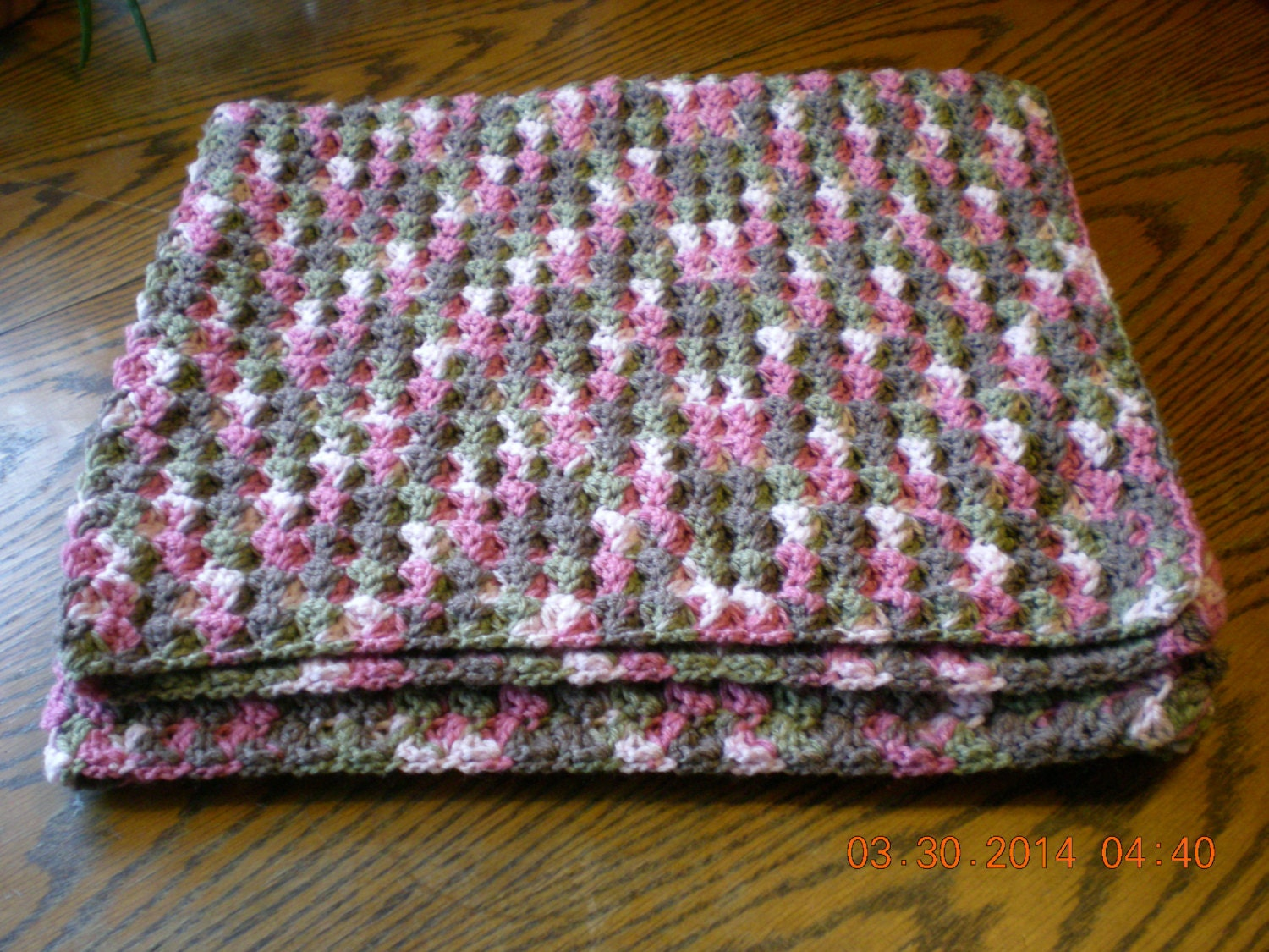Pink Camouflage Crocheted Baby Afghan/Pink Camo Baby