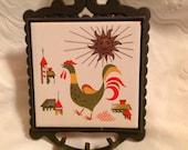 Vintage Cast Iron Ceramic Rooster Trivet Hot Plate Vintage Rooster