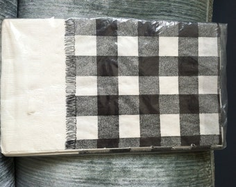 Black & White Checked Paper Picnic Table Cover - NOS