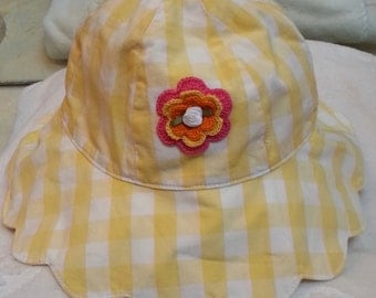 Girls Toddler Yellow and White Gingham Sunhat Hat - Handmade Irish Rose - Sizes  5-7 and 8 and Up Years