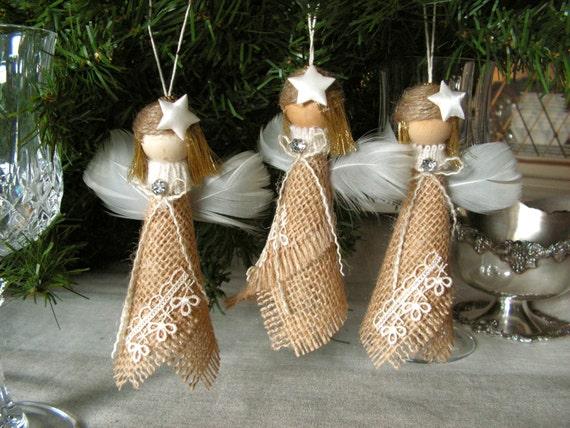 Christmas ornament burlap angel set of 3 for How to make burlap christmas decorations