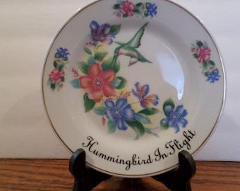 Vintage Porcelain Hummingbird Plate by Ashton Hall