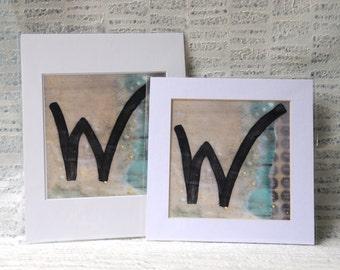 Encaustic Art Print: Letter W Fine Art Print, Vintage, Retro Style