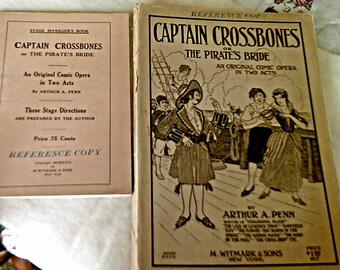 1919 Vintage Music Captain Crossbones or the Pirates Bride by Arthur A. Penn