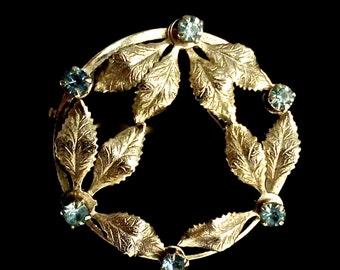 Delicate Vintage Circle Brooch Gold Leaves and Rhinestones