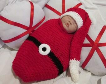 Crochet Santa Baby Sleep Cocoon Photo Prop