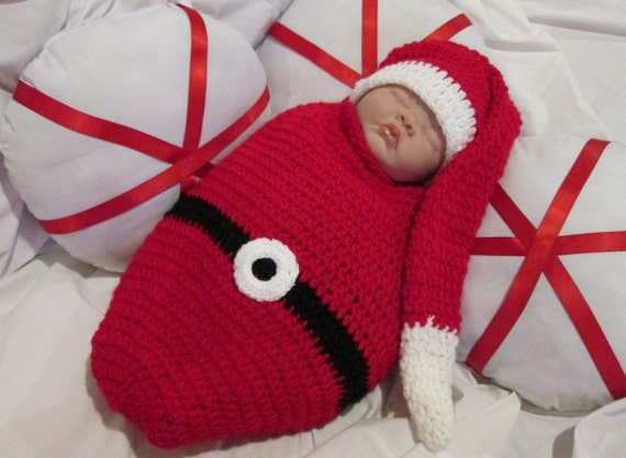 Crochet Santa Baby Sleep Cocoon Photo Prop