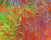 Rainbow  Leaves Multicolor Fabric- Orange Batik Batik Fabric - Quilting Fabric- Indonesian Batik Fabric