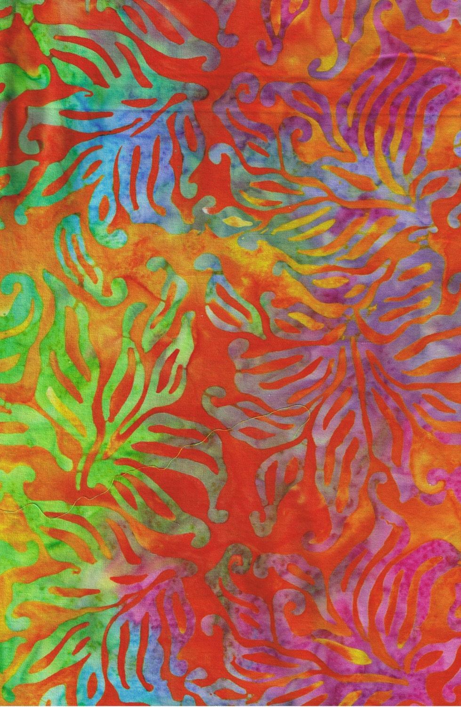 Sale orange batik batik fabric multicolor fabric rainbow for Quilting fabric sale