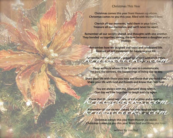 Christmas Poem Print for those that have lost their Mom or Grandma 8x10 Christmas without Mom Christmas This Year Variety Colors Photographs