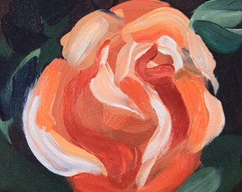"Orange rose flower small original floral painting 6x6"" acrylic on panel green red impressionist still life fine art by Cristina Jacó"