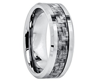Mens Tungsten Wedding Band Ring 8mm Charcoal Grey Carbon Fiber Inlay Comfort Fit Polished Beveled Edges Brushed Center Custom Engraved 8mm