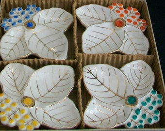 FREE SHIPPING Vintage Set of 4 Figural Leaf Bridge Nut Dishes Ashtrays  Made In Japan Boxed Set REDUCED
