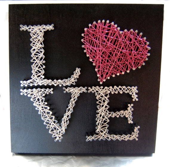Love string art custom wall art personalized string art - String art modele ...