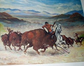 Buffalo Hunt On Western Plains 1966 Large Vintage Lithograph Print Artist Joe H Williams Home Decor Wall Hanging Picture