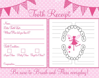 Instant Download Tooth Fairy Receipt 5x7 size