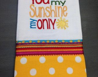 Burp Cloth Bib Set You are my Sunshine