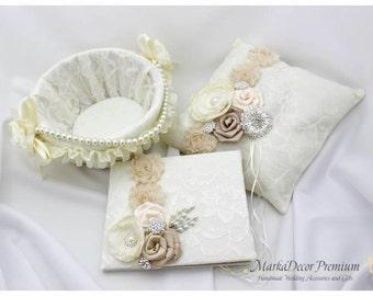 Ivory Lace Ring Pillow, Guest Book, Basket, Set of 3 Wedding Bridal Set, Custom Flower Girl Basket, Brooch Ring Pillow, Flower Guest Book