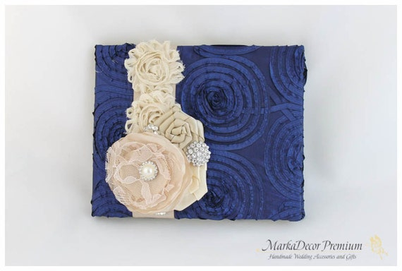 READY TO SHIP Wedding Lace Guest Book Custom Bridal Flower Brooch Guest Books in Champagne, Tan and Navy