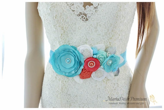 READY TO SHIP Bridal Sash / Beach Wedding Belt in Sea Foam Blue, Turquoise, Coral and White with Brooches, Glass Beads Handmade Flowers
