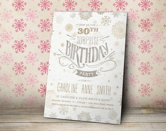 Printable Birthday Party Invitations, Adult Birthday Invitation, Winter Birthday Invite, Holiday Birthday Party (white)