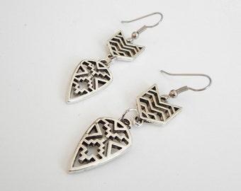 Aztec Empress // Tribal Earrings // Aztec Earrings // Native American // Mayan Earrings // Silver // Boho Earrings // Chevron Earrings