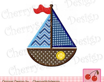 Sailboat transportation Machine Embroidery Applique Design -4x4 5x5 6x6 inch