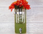 Wall Flower Vase 1 Hook- Key Holder-Olive-Towel Hook- Country- French Chic- Shabby- Country Decor- Choose From Many Colors