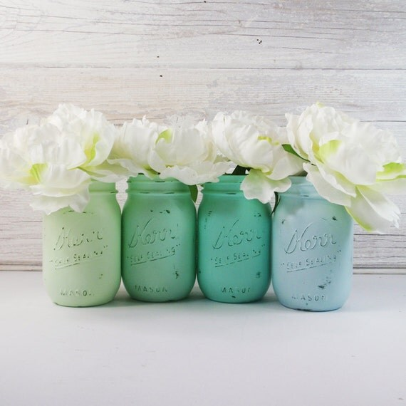 4- Hand Painted Pint Mason Jar Flower Vases-Seafoam Collection Two-Country Decor-Cottage Chic-Shabby Chic-French Chic