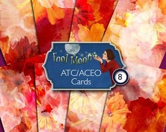 Digital ATC, ACEO cards, digital collage sheet, digital paper, botanicals, flowers in orange, red, pink, yellow for crafts - Botanicals 02