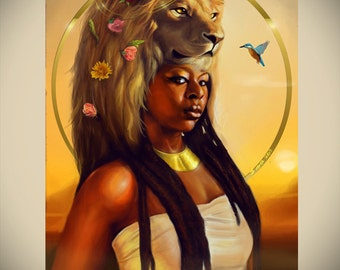 LEO Zodiac Afrofuturism African American Art Black Goddess Woman Natural Hair Dreadlocks Fantasy Illustration Painting Print by Sheeba Maya