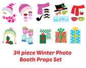 INSTANT Download Christmas 34 piece WINTER Photo Booth Props PRINTABLE Download - Craft Decoration Party diy