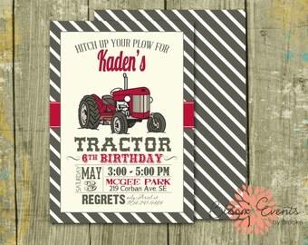 Vintage Tractor Bash Invitation - Red, Brown, Stripe